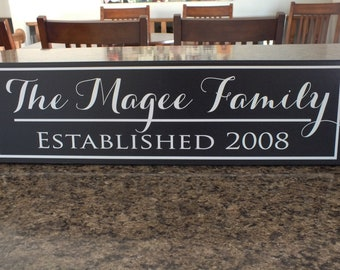 "Personalized family name sign family established sign Last Name  7""x24"""
