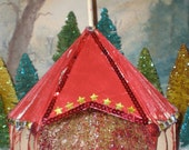 Vintage book circus tent miniature: Traditional Red tent with star gem details and white flag (10 in)