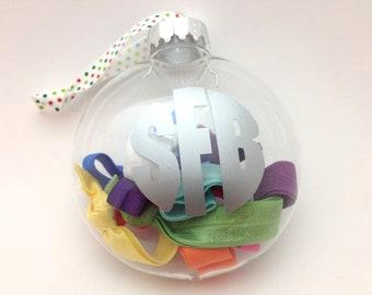 Monogrammed Christmas Ornament Hair Tie Set - Rainbow Elastic Hair Ties-Perfect No Tug Hair Ties - Gift, Stocking Stuffer - Personalized