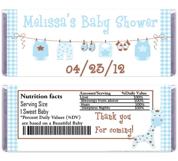 Printable baby shower candy wrapper by nhelydesigns on etsy for Candy bar wrappers template for baby shower printable free