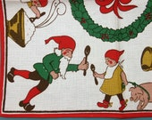 Swedish retro vintage 1950s small printed cotton design tablet tabelcloth with Christmas motive on white bottomcolor - NORDICARTCURIOSITY