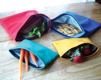 Reusable Sandwich and Snack Bags with Velcro Closure - 4 Pack: Red, Blue, Yellow, Teal