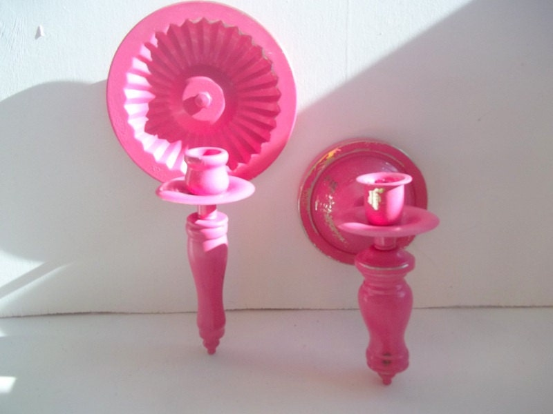 Shabby Chic Girls Room Set of Pink Wall Sconces by TheDezignShoppe