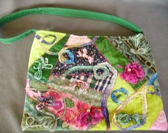 "Handmade patchwork handbag, embellished ""Beads and Bows"" purse"