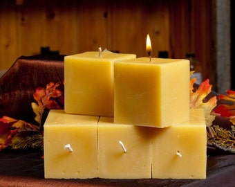 4 Inches Square Pillar Beeswax Candle