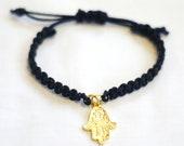 Macrame Black & Gold Hamsa Bracelet