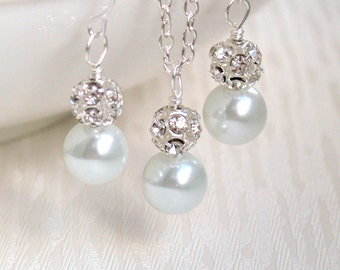 White Bridesmaid Jewelry 6 Sets White Pearl Necklaces Earrings White Bridesmaid Gift Jewelry Bridal Accessories white necklace and earrings
