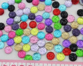 Set of 100 pcs 10mm cabochons Assorted Bling Round Rhinestones/Gems flat back embellishment resin cab mixed colors-SZ0144