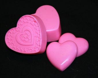 Hot Pink Hearts Soap Set Vegan Friendly Vegetable Based