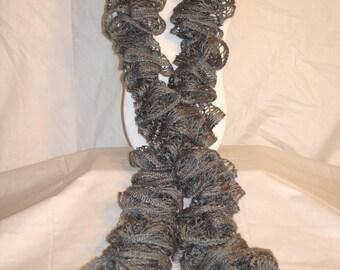 Gray Crochet Ruffle Scarf