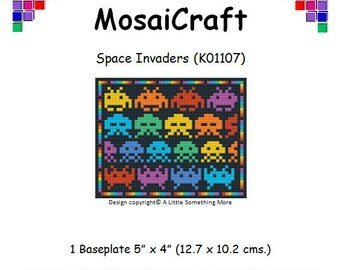MosaiCraft Pixel Craft Mosaic Art Kit 'Space Invaders' (Like Mini Mosaic and Paint by Numbers)