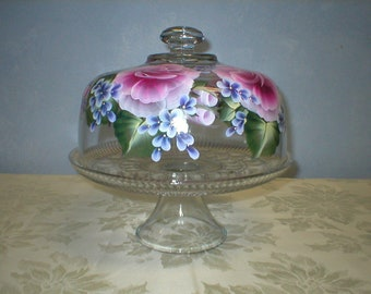 Convertable Rose Cake Dome and/or Punch Bowl (Handpainted)