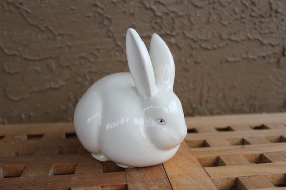 Vintage Bunny Cotton Ball Dispenser Made In Japan Figurines
