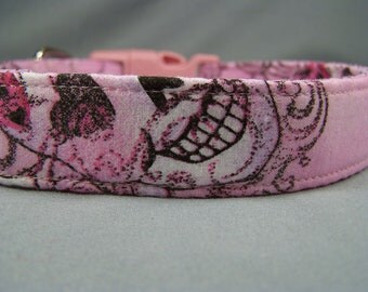 Glitter Goth Girl Pink Skull Dog Collar