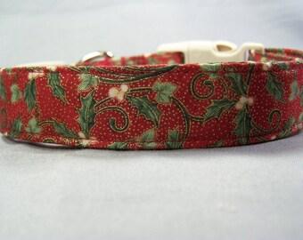 Christmas Dog Collar Mistletoe on Red