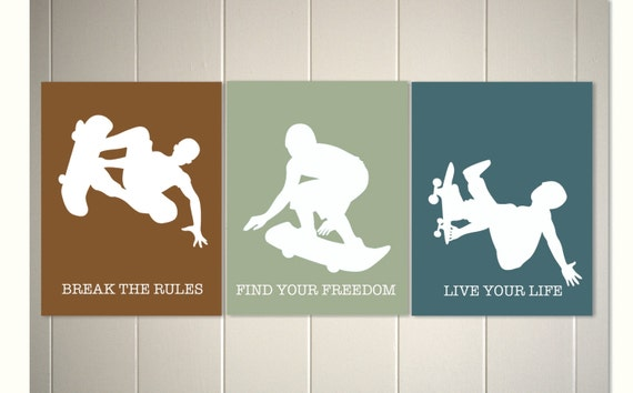 Boys room art skateboard art boy room decor sports teen boy for Boys wall art