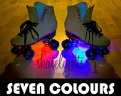 Custom roller skate lights ( LED )  - Ready to roll with batteries. Disco - Jam - Derby - figure - NEW IMPROVED