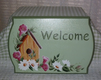 Hand Painted Welcome Sign with HP Birdhouse and Morning Glories