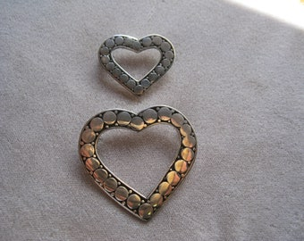 Vintage Sterling Silver Balinese Heart Pins