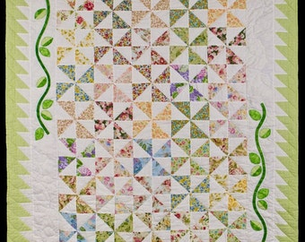 Multi color pinwheel Quilt with applique (twin size)