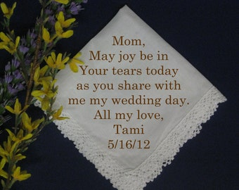 Personalized Wedding Handkerchief from Bride to Mother P990