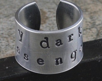 SALE - My Dark Passenger Ring - Adjustable Aluminum Ring - Handstamped Unisex Ring - Sizes 5, 6, 7, 8, 9, 10, 11, 12, 13, 14, 15