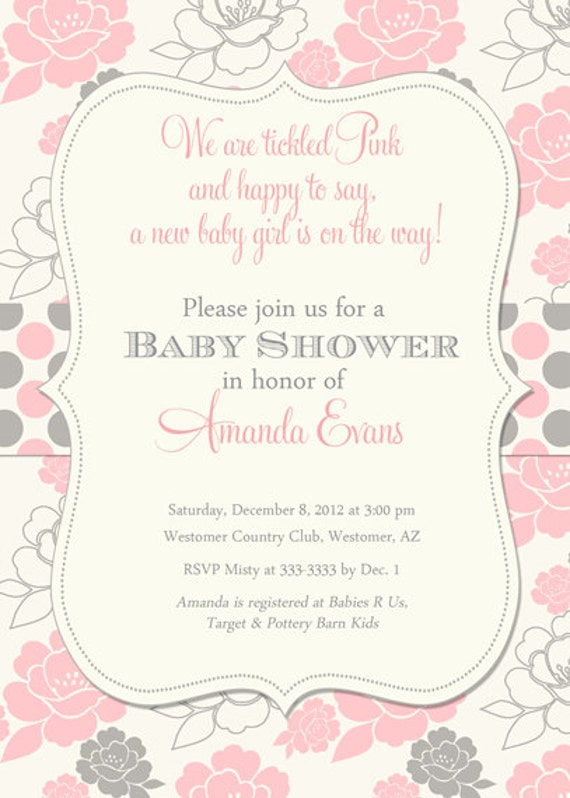 baby shower invitation pink and grey floral polka dots printable