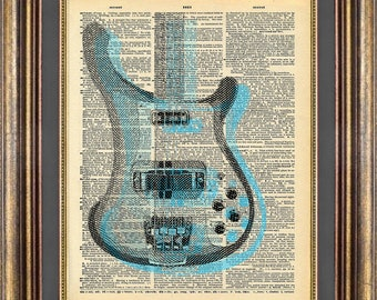 Rickenbacker Bass Book Page Print Art Dictionary Page Art Print Up Cycled