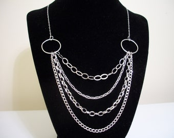 Sterling Silver Layered Chain Necklace  - Valentine