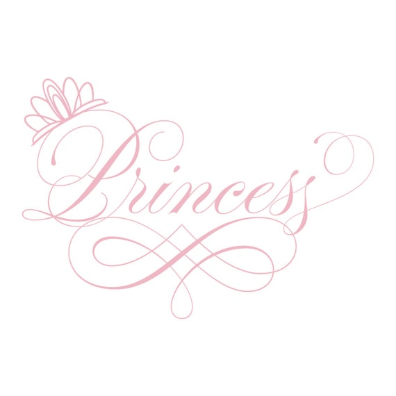 Line Art Word : Items similar to princess wall decal elegant script