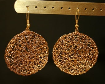 Earrings gold plated round gold disk earring noble simply festive approx. 3.8 cm diameter