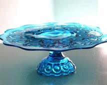 Vintage Cake Stand / Cobalt Blue - Sapphire Blue - Dark Aqua Blue / Vintage Cake Plate Pedestal / Cake Dish or Cake Server / Cupcake Stand