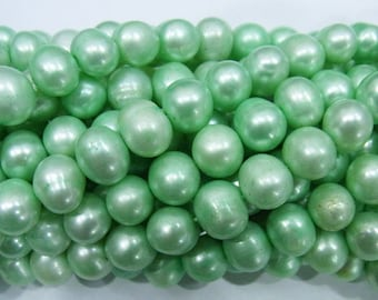 9-10mm Offround Light Green Freshwater Pearl 15 inches length, 38 cm-