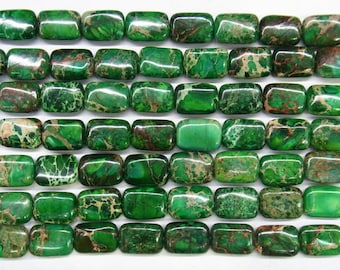 8x10mm/12x16mm/13x18mm Rectangle Green Sea Sediment Jasper 15 inches length, 38 cm Semi Gemstone  - 4531-