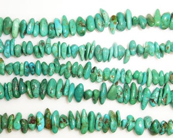 4mm Chips Turquoise Beads Genuine Natural A Grade 15''L 38cm Loose Beads Semiprecious Gemstone Bead   Supply