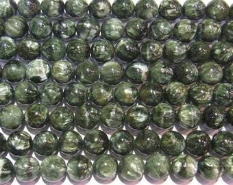 10mm Round Seraphinite  Beads Genuine Natural Green - 5599 15''L Semiprecious Gemstone Bead Wholesale Beads Supply