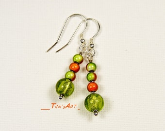 Silver earrings with bright green, Orange beads