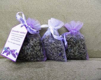3x small organic lavender sachets in organza bags, hand-made - gift present