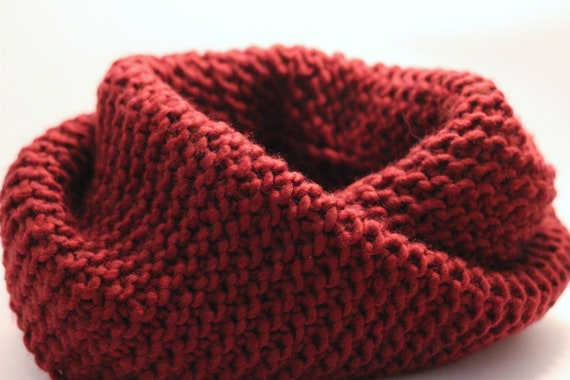 knitted chunky scarf  burgundy colour worn cowl style