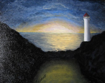Lighthouse at dusk 11 X 14 original oil painting on canvas