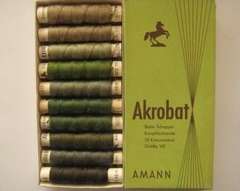 AMANN Akrobat 30/3 10m - Pure Silk Thread - Olive and Khaki Colors - 10 spools