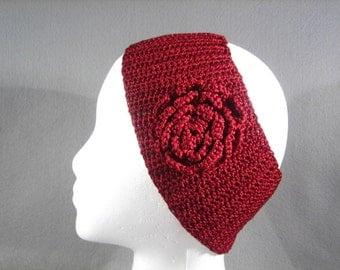 Ice Silk Crocheted Headband with flower-Crochet Headband-Handmade