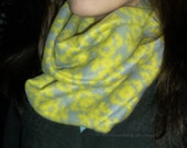 Nordic Snowflake Pattern Fleece Infinity Scarf in grey and lime.