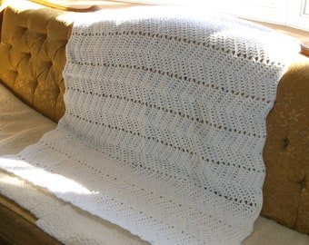 White Ripple Baby Afghan
