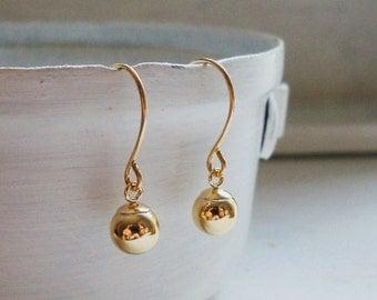 Gold Earrings /  Gold Filled Ball Earrings / Gold Ball Earrings / Gold Filled Earrings / Basic Earrings / Gold Dangle Earrings / Bridal