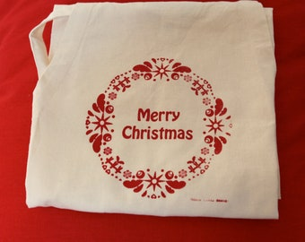 Merry Christmas hand printed Hemp & Organic Cotton Apron