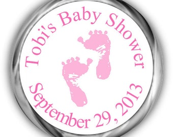 Pink Feet Baby Shower Hershey Kisses Stickers - Personalized Girl Baby Shower Sticker