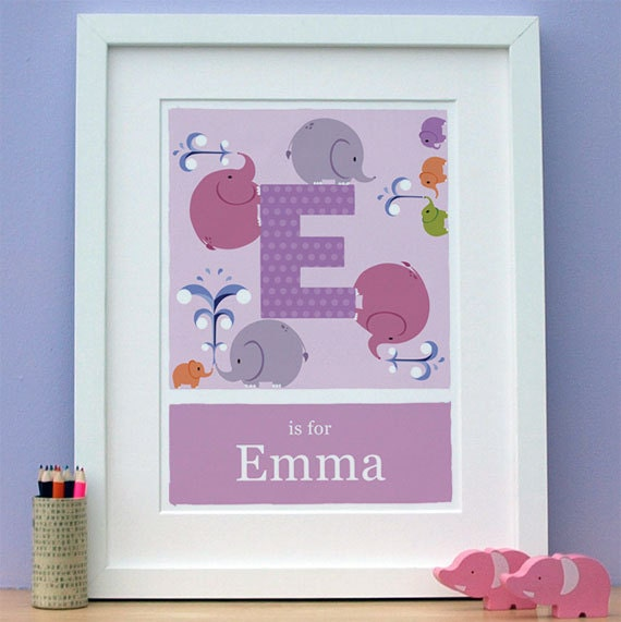 Personalised nursery decor - E is for Elephant - wall art print - 11x14