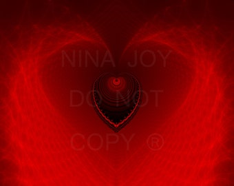 Heart Sacred Art - Fractal Spiritual Lovers Black and Red Psychedelic Original Print 11x14