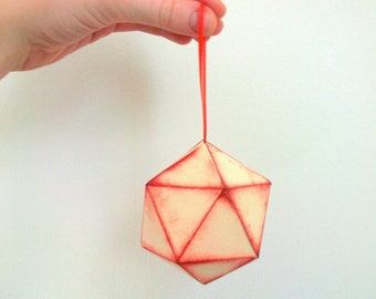 Very Merry Icosahedron Paper Ornament- Christmas Ornament